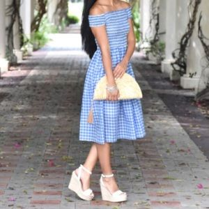 Jcrew Blue gingham smocked dress xs
